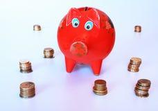 piggy besparingar för grupp Arkivfoto