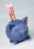 Piggy packa ihop och euroen Arkivbilder