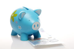 Piggy Blue with banknote Stock Photography