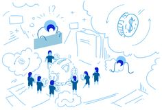 Piggy box businessman put dollar coin money growth wealth concept strategy people group brainstorming teamwork success. Sketch doodle horizontal vector royalty free illustration