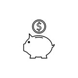 Piggy box line icon, finance and business. Money box with coin vector graphics, a linear pattern on a white background, eps 10 Royalty Free Stock Image