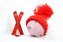 Piggy box with red hat with pompom standing next to red ski and ski sticks on snow and around are snowbound trees. Horizontal Stock Photos