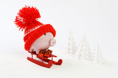 Piggy box with red hat with pompom standing on red sled and holding three gifts with gold bow on snow and around are snowbound tre Royalty Free Stock Photo