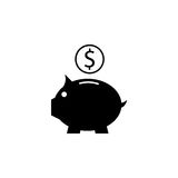 Piggy box solid icon, finance and business. Money box with coin vector graphics, a filled pattern on a white background, eps 10 Royalty Free Stock Image