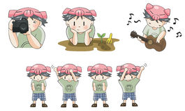 Piggy Boy Cartoon Icon In Various Action Set 8 Royalty Free Stock Photo