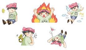 Piggy boy cartoon icon in various action set 3. Create by vector Stock Photos