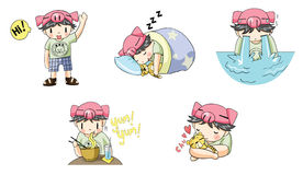 Piggy boy cartoon icon in various action set 1 Stock Photo