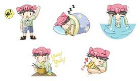 Piggy boy cartoon icon in various action set 1. Create by vector Stock Photo