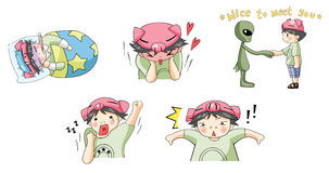 Piggy boy cartoon icon in various action set 5 Royalty Free Stock Image