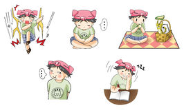 Piggy boy cartoon icon in various action set 4 Stock Photo