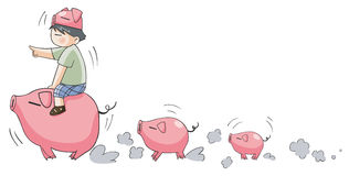 Piggy boy leading little pigs (set 9) Stock Image