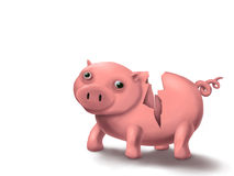 Piggy Broke. Digital painting of a broken piggy bank character Stock Photography