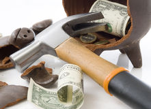 piggy broken moneybox Royaltyfria Bilder