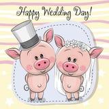 Piggy brud för hälsningkort och Piggy brudgum stock illustrationer