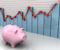 Piggy Business. The piggy beside the bar and line graph. Concept of business and finances Royalty Free Stock Photo