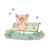 Piggy with a butterfly on his nose. Cute pig sitting on a bench. Piggy with a butterfly on his nose. The bird sings their song. Funny vector illustration in Stock Images