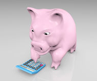 Piggy with a calculator Stock Photos