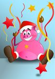 Happy, celebrating pig. royalty free illustration