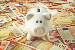 Piggy Coin Bank on fifity euro pile. Piggy Coin Bank standing on fifty Euro banknotes pile as home budget theme illustrative image Stock Image