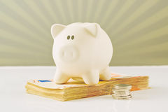 Piggy Coin Bank on fifity euro pile Royalty Free Stock Image