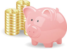Piggy with coins Royalty Free Stock Photography