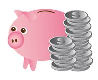 Piggy with coins Royalty Free Stock Photos