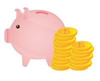 Piggy with coins Stock Photos