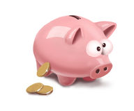 Piggy with coins. Pink saving piggy with gold coins Stock Image