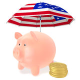 Piggy and coins under the umbrella. Piggy Bank and сoins dollar under a striped umbrella on a white background Royalty Free Stock Photography