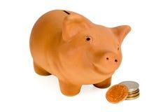 Piggy com dinheiro (2) Fotografia de Stock