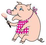 Piggy come salsichas de carne de porco fotos de stock