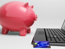 Piggy At Computer Shows Banking On Laptop Stock Photos