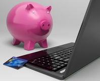 Piggy At Computer Shows Investment Growth Banking Stock Images