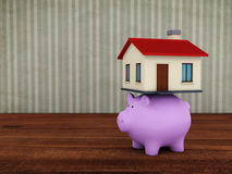 Piggy with 3d Home Model. Piggy with Home 3D Rendering Image Royalty Free Stock Images