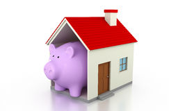 Piggy with 3d Home Model. Piggy with Home 3D Rendering Image Royalty Free Stock Photo
