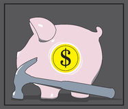 Piggy Dollar Bank with Hammer. Vector illustration. Royalty Free Stock Images