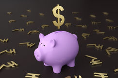 Piggy with Dollar Symbol. 3D Rendering Image Royalty Free Stock Image