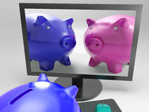 Piggy Duo Shows Family Investing For Security. Piggy Duo Showing Family Investing For Security Royalty Free Stock Images