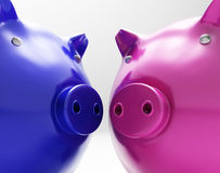 Piggy Duo Shows Investing Finances Together Royalty Free Stock Photography