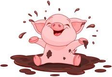 Piggy in een vulklei Royalty-vrije Stock Afbeelding