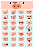 Piggy emoji icons. Vector, illustration Royalty Free Stock Image