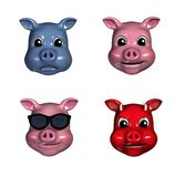 Piggy Emoticons. Depicting sad, happy, cool and devilish faces Stock Images