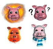 Piggy Emoticons - 2. Four piggy emoticons depicting, 'fired up', inquisitive, very hot and freezing Stock Photos