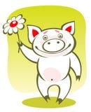 Piggy en bloem royalty-vrije illustratie