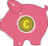 Piggy Euro Bank. Vector illustration. Stock Photos