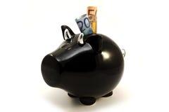 piggy euro för svart ask för sedlar Arkivfoton