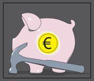 Piggy eurobank och hammare också vektor för coreldrawillustration stock illustrationer
