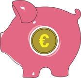Piggy eurobank också vektor för coreldrawillustration royaltyfri illustrationer