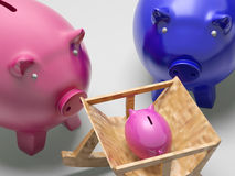 Piggy Family Shows Planning Protection And Savings Stock Photos
