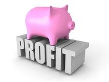 Piggy Geld-Bank auf GEWINN Wort Die goldene Taste oder Erreichen für den Himmel zum Eigenheimbesitze Lizenzfreie Stockfotos